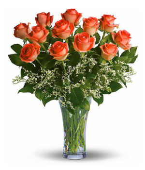 One Dozen Long Stemmed Orange Roses