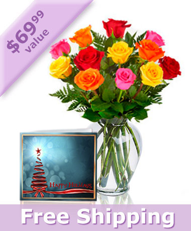 12 Mixed Roses, Vase & Card Combo