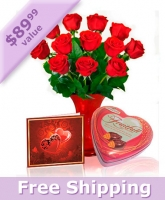 Dozen Roses, Chocolates, Vase & Card