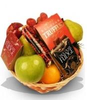 Cesta de regalo con Frutas y Chocolate
